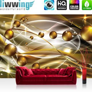 liwwing Vlies Fototapete 416x254cm PREMIUM PLUS Wand Foto Tapete Wand Bild Vliestapete - Ornamente Tapete Kunst Kugeln Perlen Streifen Linien Schwung Bewegung gelb - no. 1402