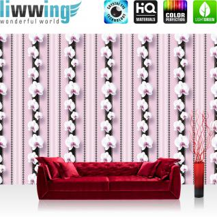 liwwing Fototapete 368x254 cm PREMIUM Wand Foto Tapete Wand Bild Papiertapete - Orchideen Tapete Ornamente Blüte Illustrationen lila - no. 346