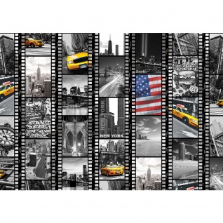 Fototapete New York Tapete Amerika USA Taxi Brücke Collage schwarz - weiß | no. 1665 1