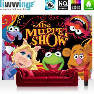 liwwing Fototapete 368x254 cm PREMIUM Wand Foto Tapete Wand Bild Papiertapete - Disney Tapete Die Muppet Show Kindertapete Cartoon Puppen Mrs. Piggy Kermit bunt - no. 1923