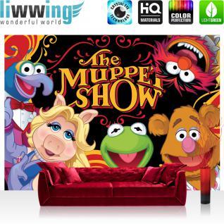 liwwing Vlies Fototapete 416x254cm PREMIUM PLUS Wand Foto Tapete Wand Bild Vliestapete - Disney Tapete Die Muppet Show Kindertapete Cartoon Puppen Mrs. Piggy Kermit bunt - no. 1923