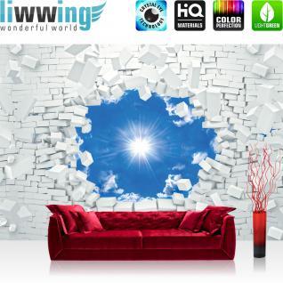 liwwing Vlies Fototapete 152.5x104cm PREMIUM PLUS Wand Foto Tapete Wand Bild Vliestapete - Steinwand Tapete Steinoptik Stein Durchbruch Himmel Sonne Wolken weiß - no. 2990