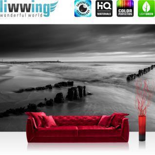 liwwing Fototapete 368x254 cm PREMIUM Wand Foto Tapete Wand Bild Papiertapete - Meer Tapete Wasser Himmel Strand schwarz weiß - no. 2221