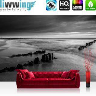 liwwing Vlies Fototapete 152.5x104cm PREMIUM PLUS Wand Foto Tapete Wand Bild Vliestapete - Meer Tapete Wasser Himmel Strand schwarz weiß - no. 2221