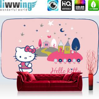 liwwing Vlies Fototapete 416x254cm PREMIUM PLUS Wand Foto Tapete Wand Bild Vliestapete - Cartoon Tapete Hello Kitty Kindertapete Cartoons Katze Nacht Sterne rosa - no. 1438