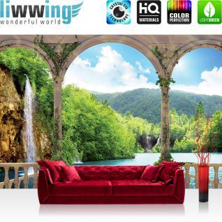 liwwing Vlies Fototapete 312x219cm PREMIUM PLUS Wand Foto Tapete Wand Bild Vliestapete - Wasser Tapete See Berge Wasserfall Bogen Bäume beige - no. 2109