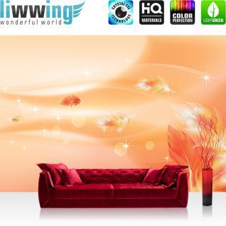 liwwing Vlies Fototapete 350x245 cm PREMIUM PLUS Wand Foto Tapete Wand Bild Vliestapete - Ornamente Tapete Abstrakt Perle Feder Stern Welle Muster orange - no. 850