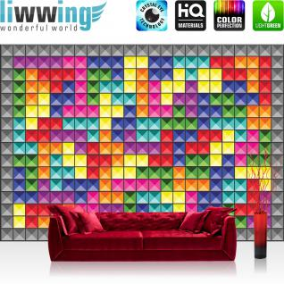 liwwing Vlies Fototapete 312x219cm PREMIUM PLUS Wand Foto Tapete Wand Bild Vliestapete - Kunst Tapete Kacheln Vierecke Nieten Muster Design bunt - no. 1432
