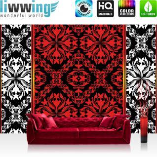 liwwing Vlies Fototapete 416x254cm PREMIUM PLUS Wand Foto Tapete Wand Bild Vliestapete - Ornamente Tapete Vektorgrafik Muster rot - no. 1851
