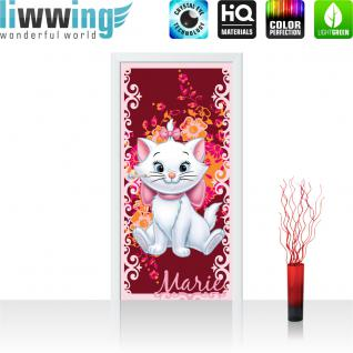 liwwing Türtapete selbstklebend 91x211 cm PREMIUM PLUS Tür Fototapete Türposter Türpanel Foto Tapete Bild - DISNEY Aristocats Marie Kindertapete Cartoon Katze Blume - no. 1115