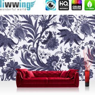 liwwing Vlies Fototapete 416x254cm PREMIUM PLUS Wand Foto Tapete Wand Bild Vliestapete - Pflanzen Tapete Blume Blüten Blätter Druckkunst weiß - no. 1603