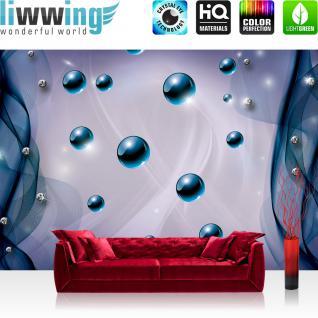liwwing Vlies Fototapete 300x210 cm PREMIUM PLUS Wand Foto Tapete Wand Bild Vliestapete - 3D Tapete Abstrakt Netz Perle Murmel Diamant 3D blau - no. 801