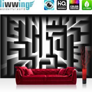 liwwing Fototapete 368x254 cm PREMIUM Wand Foto Tapete Wand Bild Papiertapete - Illustrationen Tapete Labyrinth Illustration Weg schwarz - no. 3111