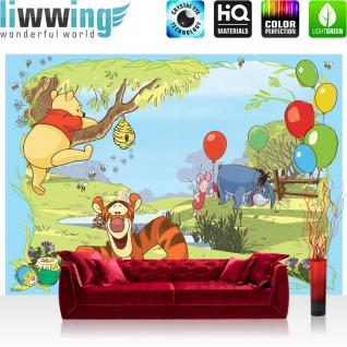 liwwing Vlies Fototapete 208x146cm PREMIUM PLUS Wand Foto Tapete Wand Bild Vliestapete - Disney Tapete Winnie Puuh Kindertapete Cartoon Tigger Esel Ferkel Honig bunt - no. 1924