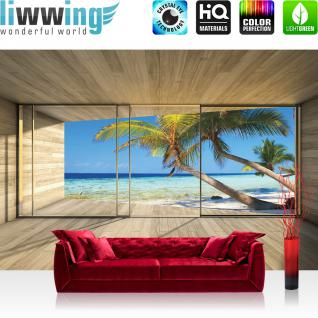 liwwing Vlies Fototapete 312x219cm PREMIUM PLUS Wand Foto Tapete Wand Bild Vliestapete - Meer Tapete Strand Meer Palmen Wasser Raum Holz blau - no. 2800