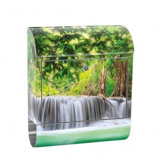 Edelstahl Wandbriefkasten XXL mit Motiv & Zeitungsrolle   Wasserfall Bäume Wald Thailand See Wasser Meer   no. 0067