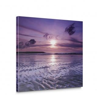 Leinwandbild Meer Strand Himmel Sonnenuntergang lila | no. 310