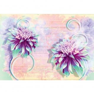 Fototapete Blumen Tapete Blüten Kunst Holz Schnörkel lila | no. 2696