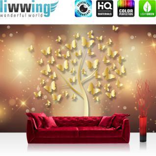 liwwing Fototapete 254x184cm PREMIUM Wand Foto Tapete Wand Bild Papiertapete - Illustrationen Tapete Schmetterlinge Baum Sterne gold - no. 3204