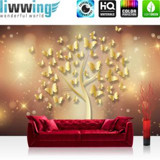 liwwing Fototapete 368x254cm PREMIUM Wand Foto Tapete Wand Bild Papiertapete - Illustrationen Tapete Schmetterlinge Baum Sterne gold - no. 3204