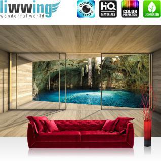 liwwing Vlies Fototapete 416x254cm PREMIUM PLUS Wand Foto Tapete Wand Bild Vliestapete - Architektur Tapete Terrasse Balkon Fenster Holzwand See Höhle Wasser Licht braun - no. 1403