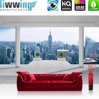 liwwing Vlies Fototapete 416x254cm PREMIUM PLUS Wand Foto Tapete Wand Bild Vliestapete - New York Tapete Manhattan Skyline Ausblick blau - no. 3093