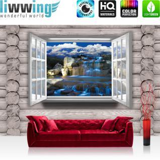 liwwing Fototapete 368x254 cm PREMIUM Wand Foto Tapete Wand Bild Papiertapete - Holz Tapete Holzwand Holzoptik Holz Fenster Wasserfall Felsen Steine grau - no. 2482