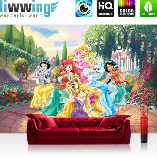 liwwing Vlies Fototapete 416x254cm PREMIUM PLUS Wand Foto Tapete Wand Bild Vliestapete - Disney Tapete Princesses Kindertapete Cartoon Arielle Schneewittchen Cinderella bunt - no. 2983