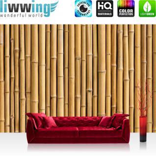 liwwing Vlies Fototapete 400x280 cm PREMIUM PLUS Wand Foto Tapete Wand Bild Vliestapete - GOLDEN BAMBOO - Bambuswald Bambus Wald Asien Asia Baum Bamboo Way Bambusweg Holzoptik - no. 083