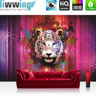 liwwing Vlies Fototapete 208x146cm PREMIUM PLUS Wand Foto Tapete Wand Bild Vliestapete - Kunst Tapete Ornamente Tiger Kopf Ranke Schnörkel pink - no. 2322