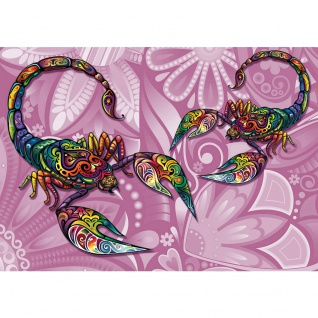 Fototapete Illustrationen Tapete Illustration Blume Tiere Scorpion bunt | no. 1890