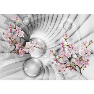 Fototapete Pflanzen Tapete Apfelblüten, Kugeln, Tunnel bunt | no. 3262