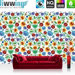 liwwing Vlies Fototapete 312x219cm PREMIUM PLUS Wand Foto Tapete Wand Bild Vliestapete - Blumen Tapete Blüten Blätter Muster Kunst bunt - no. 2435