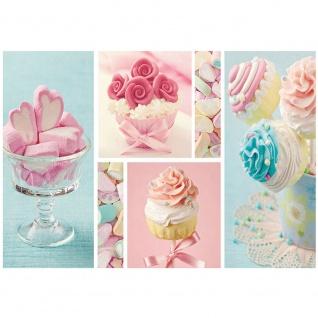 Fototapete Speisen Tapete Cupcake Herz Rose Marshmallow rosa blau   no. 412