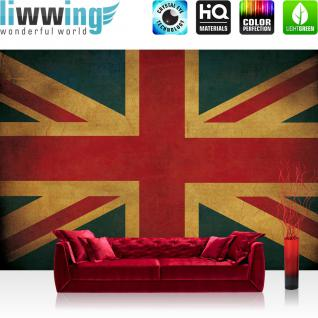 liwwing Fototapete 254x184cm PREMIUM Wand Foto Tapete Wand Bild Papiertapete - Texturen Tapete Union Jack Flagge UK Großbritannien bunt - no. 3449