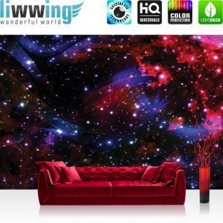 liwwing Fototapete 254x168 cm PREMIUM Wand Foto Tapete Wand Bild Papiertapete - Welt Tapete Weltall Weltraum Kosmos Sterne Licht blau - no. 2216