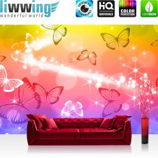 liwwing Fototapete 368x254 cm PREMIUM Wand Foto Tapete Wand Bild Papiertapete - Tiere Tapete Schmetterlinge Licht Kunst Punkte bunt - no. 2566