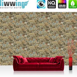 liwwing Fototapete 254x168 cm PREMIUM Wand Foto Tapete Wand Bild Papiertapete - Steinwand Tapete Stein Steinoptik kleine Steine Muster grau - no. 1429