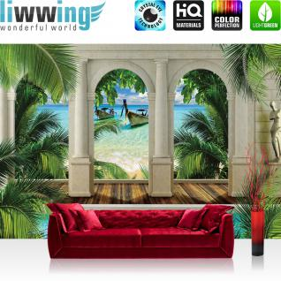 liwwing Vlies Fototapete 300x210 cm PREMIUM PLUS Wand Foto Tapete Wand Bild Vliestapete - Meer Tapete Strand Boot Bogen grün - no. 414