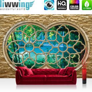 liwwing Vlies Fototapete 350x245 cm PREMIUM PLUS Wand Foto Tapete Wand Bild Vliestapete - Natur Tapete Fenster Wasserfall See Baum Natur Stein grün - no. 568