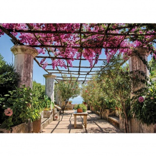 Fototapete Landschaft Tapete Säulengang, Garten, mediterran bunt | no. 3290