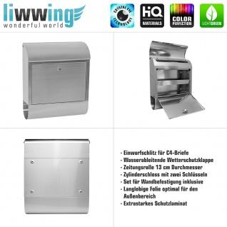 Edelstahl Wandbriefkasten XXL mit Motiv & Zeitungsrolle | abstrakt 3D Rot braun Hintergrund | no. 0103 - Vorschau 4
