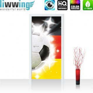 liwwing Türtapete selbstklebend 91x211 cm PREMIUM PLUS Tür Fototapete Türposter Türpanel Foto Tapete Bild - Fussball Ball Sterne Deutschland - no. 1036