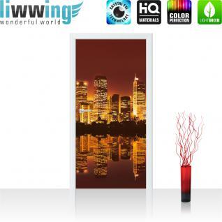 liwwing Vlies Türtapete 91x211 cm PREMIUM PLUS Tür Fototapete Türposter Türpanel Foto Tapete Bild - Skyline Hafen Tower Hafen - no. 625