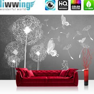 liwwing Vlies Fototapete 208x146cm PREMIUM PLUS Wand Foto Tapete Wand Bild Vliestapete - Pflanzen Tapete Pusteblume Blume Pflanze Schmetterling Malerei grau - no. 1430