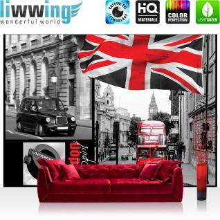 liwwing Vlies Fototapete 350x245 cm PREMIUM PLUS Wand Foto Tapete Wand Bild Vliestapete - London Tapete London Bus Flagge Rot Schrift schwarz - weiß - no. 286