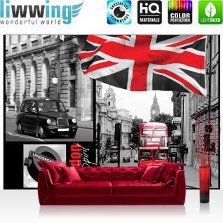 liwwing Vlies Fototapete 400x280 cm PREMIUM PLUS Wand Foto Tapete Wand Bild Vliestapete - London Tapete London Bus Flagge Rot Schrift schwarz - weiß - no. 286