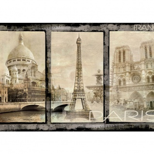 Fototapete Frankreich Tapete Paris Sehenswürdigkeiten Eifelturm Vintage sepia   no. 2988