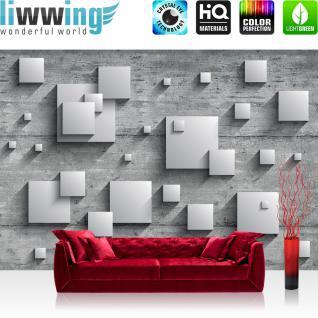 liwwing Fototapete 368x254 cm PREMIUM Wand Foto Tapete Wand Bild Papiertapete - Holz Tapete Holzwand Rechtecke Platten Kunst Design 3D Optik grau - no. 885