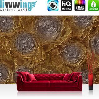 liwwing Vlies Fototapete 312x219cm PREMIUM PLUS Wand Foto Tapete Wand Bild Vliestapete - Blumen Tapete Abstrakt Blume Rose gold - no. 1669
